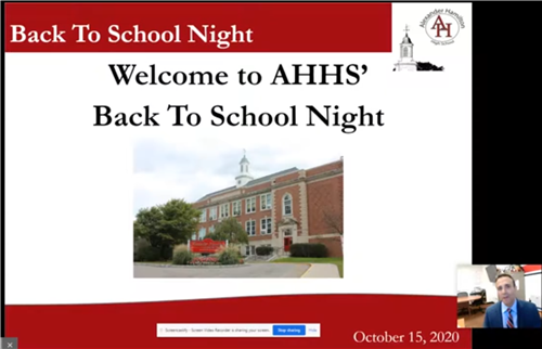Welcome to AHHS' Back to School Night sign